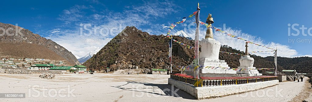 Sherpa village Stupa Prayer Flags Wheels Himalaya peaks panorama Nepal stock photo