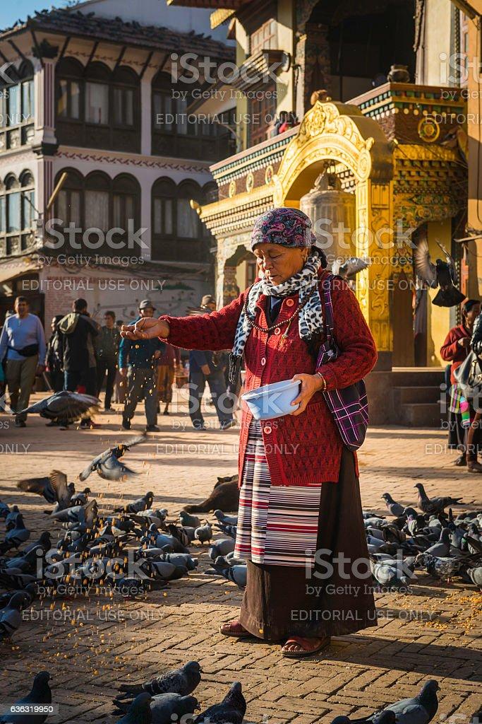 Sherpa woman feeding birds outside Buddhist gompa Boudhanath Kathmandu Nepal stock photo
