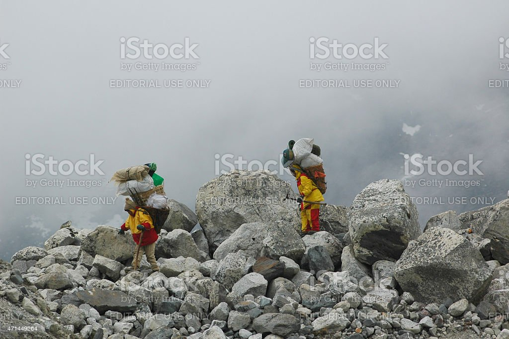 Sherpas Everest Nepal stock photo