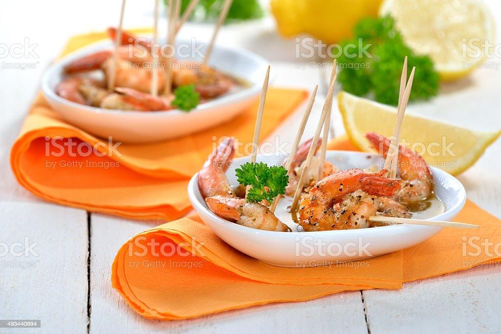 Sherry prawns stock photo