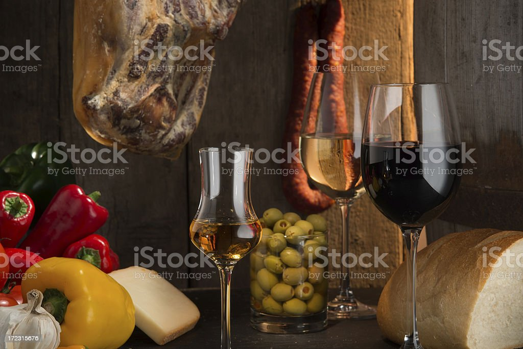 Sherry, Red and white wine , Spanish style stock photo