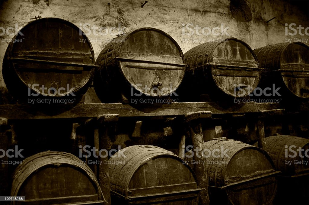 sherry wine barrels royalty-free stock photo