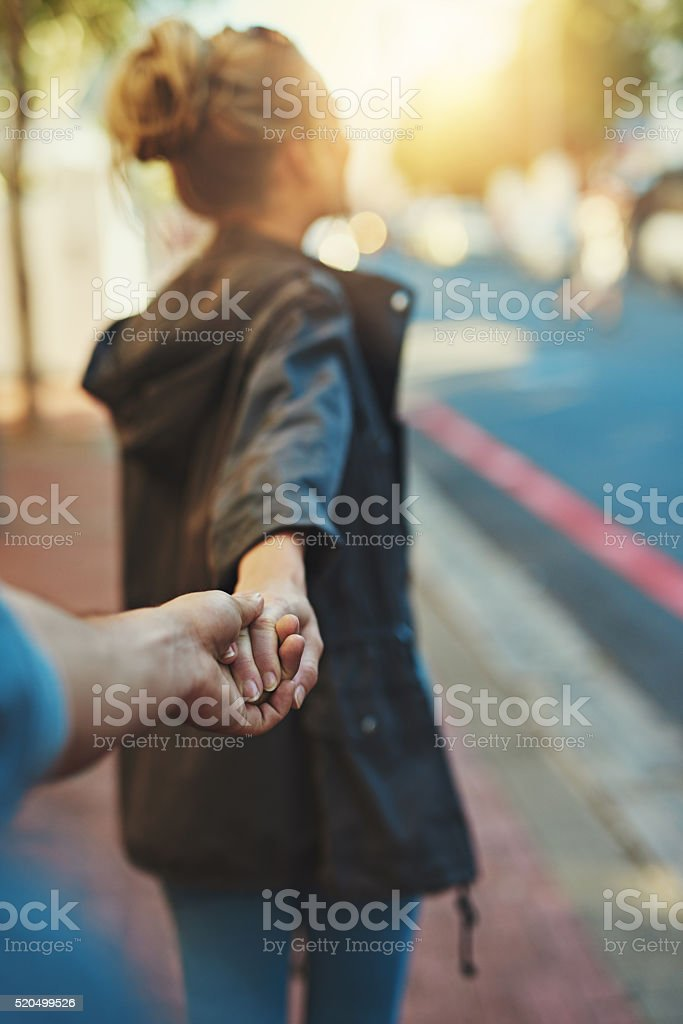 She's a big city lover stock photo