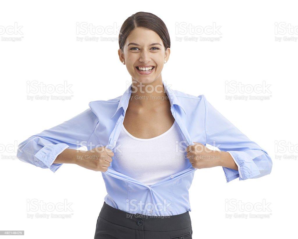 She's a business superehero stock photo