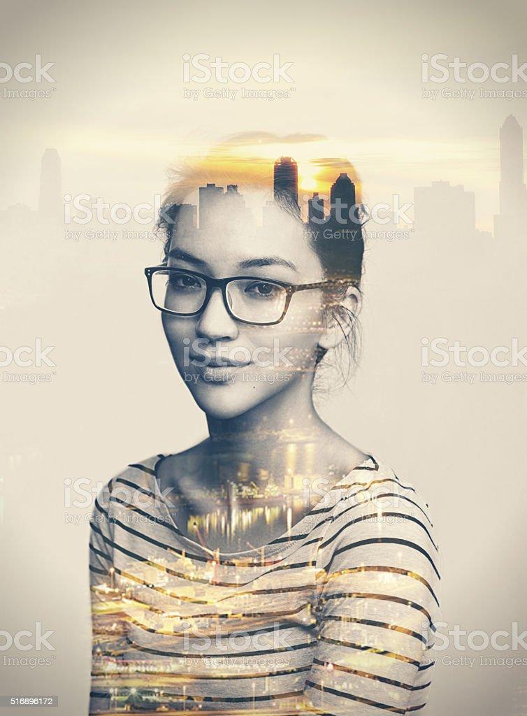 She's a city kinda girl stock photo
