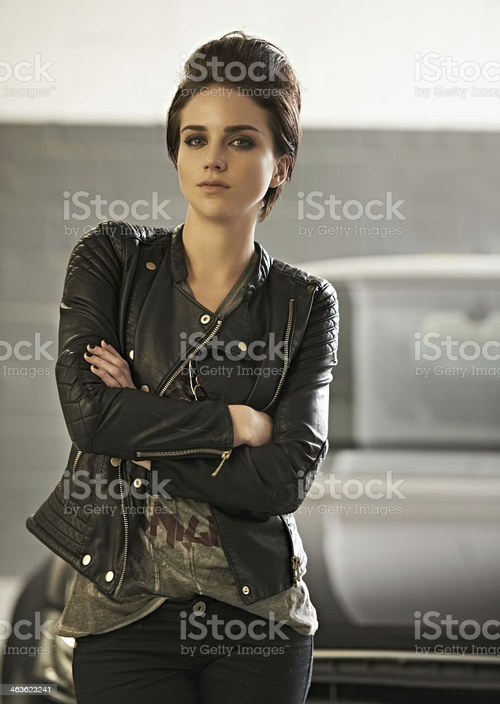 She's a confident driver stock photo