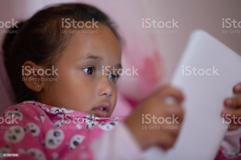 She's a curious little one stock photo