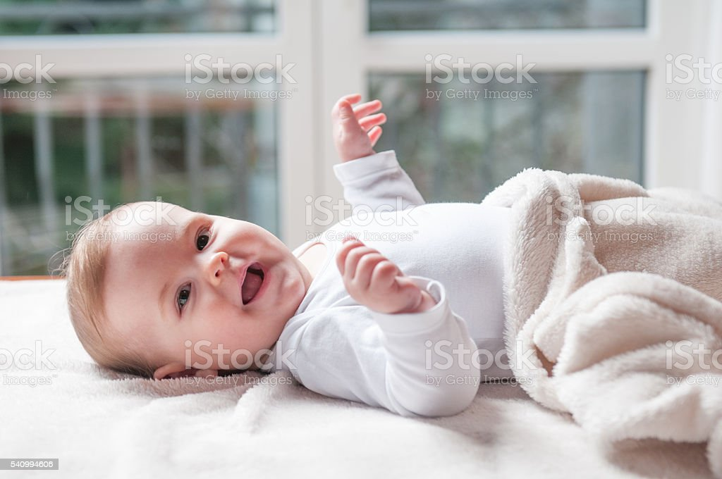 She's a cute baby stock photo