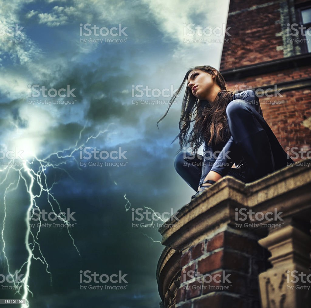 She's a force of nature - Superhero stock photo