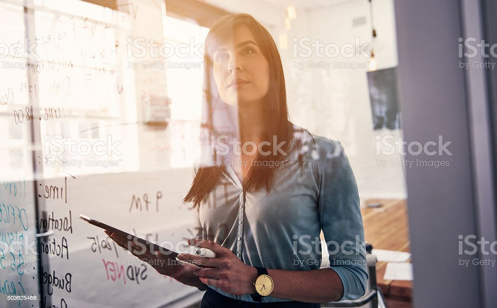 She's a forward thinking professional stock photo