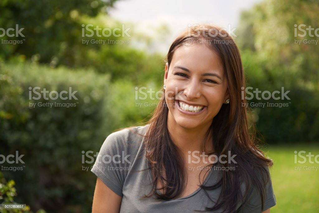 She's a happy camper stock photo