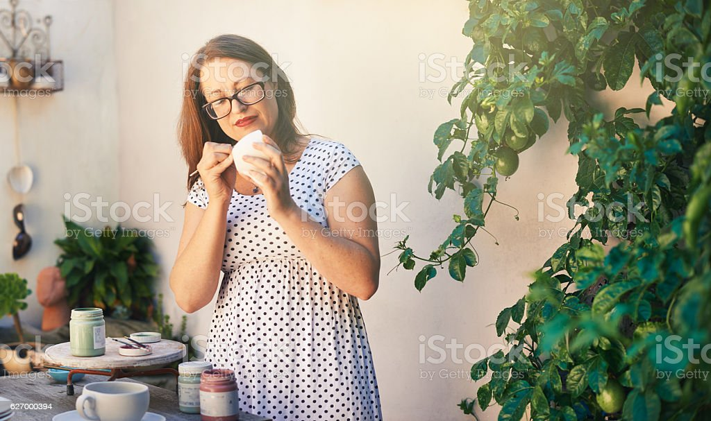 She's a perfectionist at heart stock photo