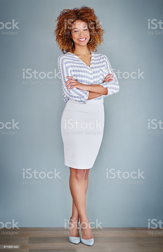 She's a picture of confidence stock photo