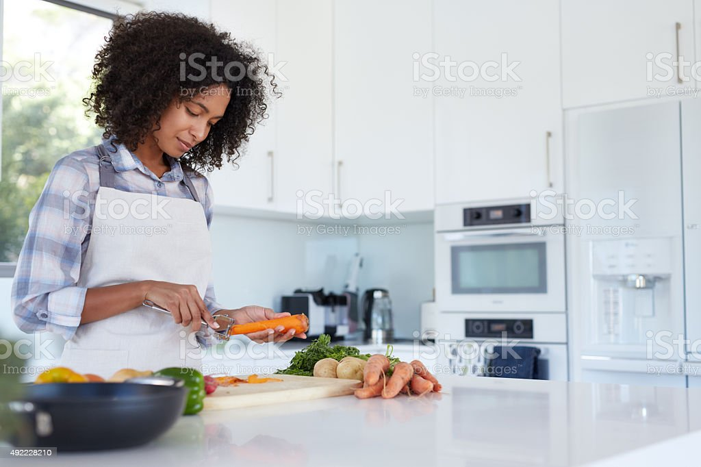 She's a pro in the kitchen stock photo