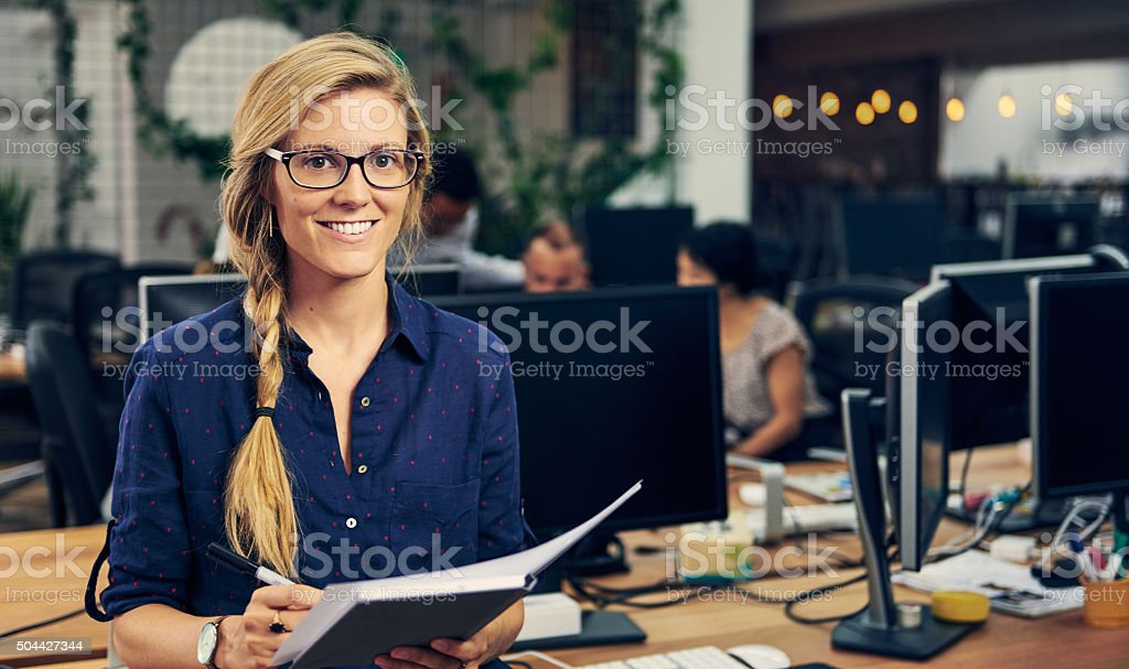 She's a rising star in the company stock photo