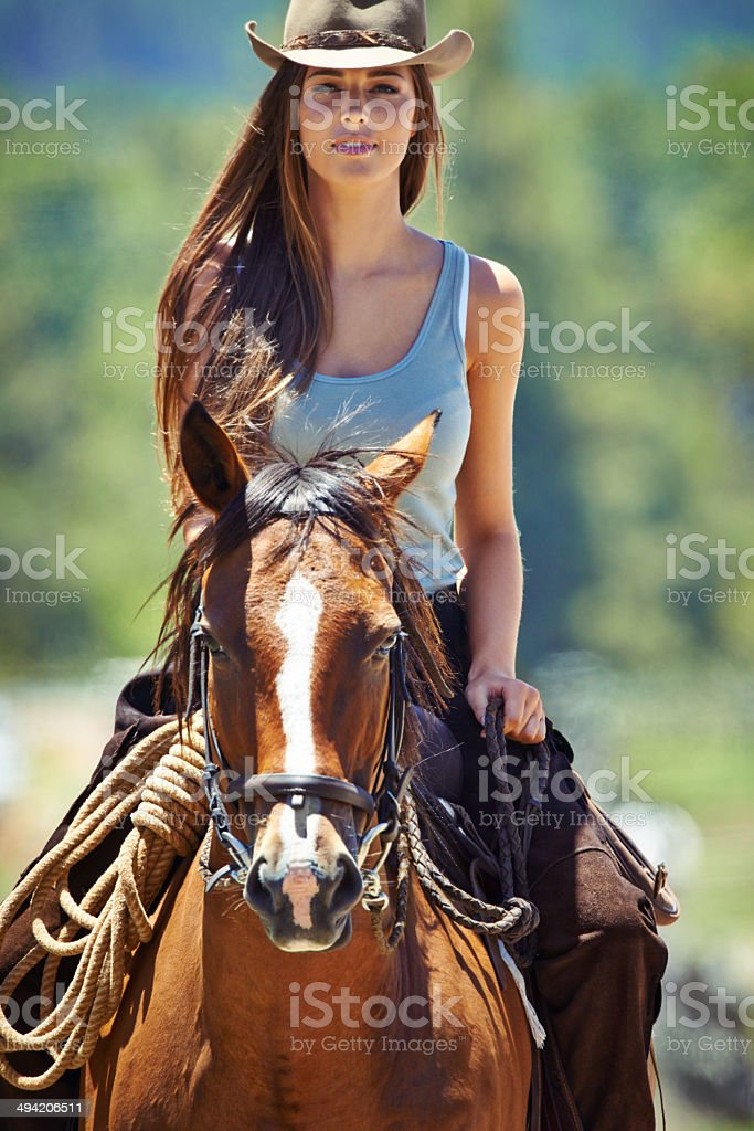 She's a true cowgirl royalty-free stock photo