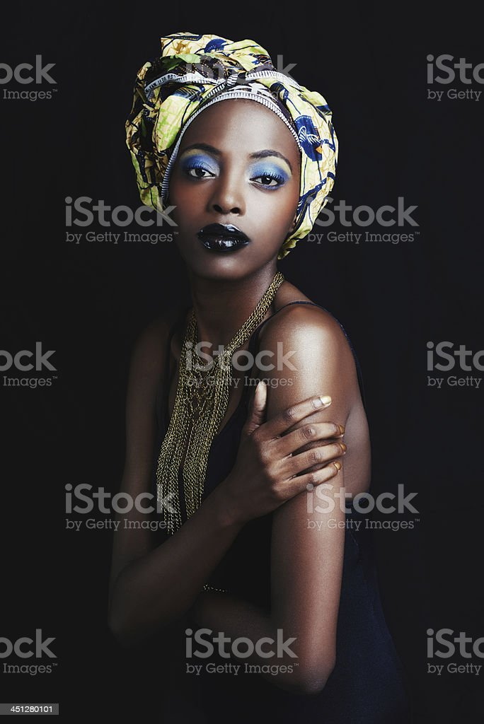 She's a true symbol of african beauty stock photo