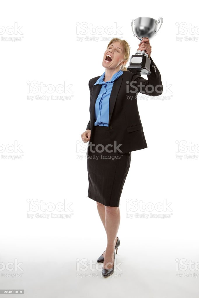 Shes a winner! stock photo