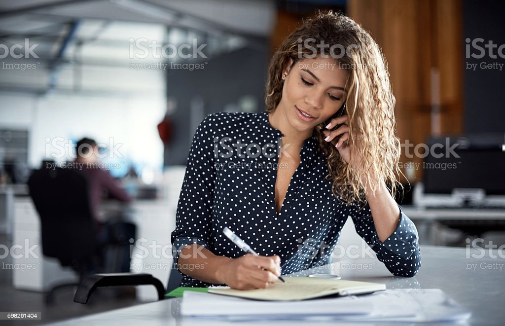 She's always connected to her business network stock photo