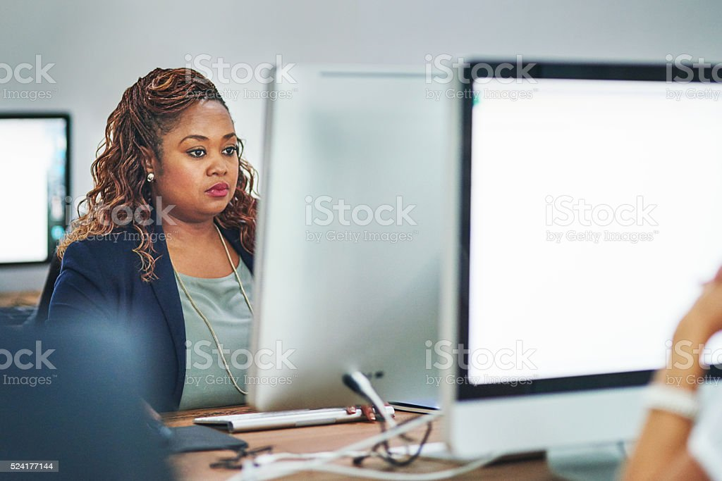 She's always hard at work stock photo