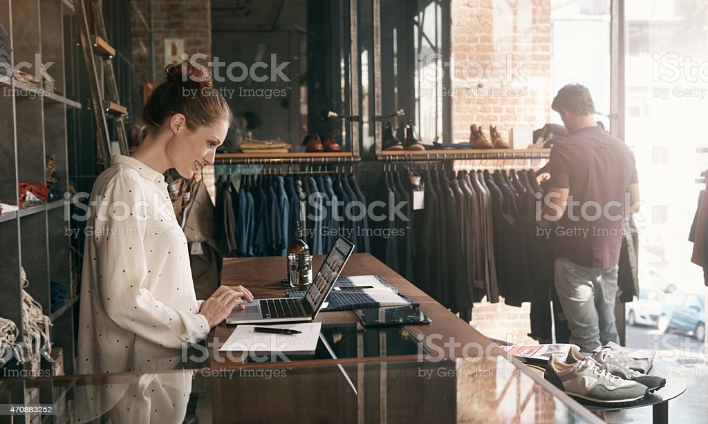 She's always one step ahead of the latest fashion trends stock photo