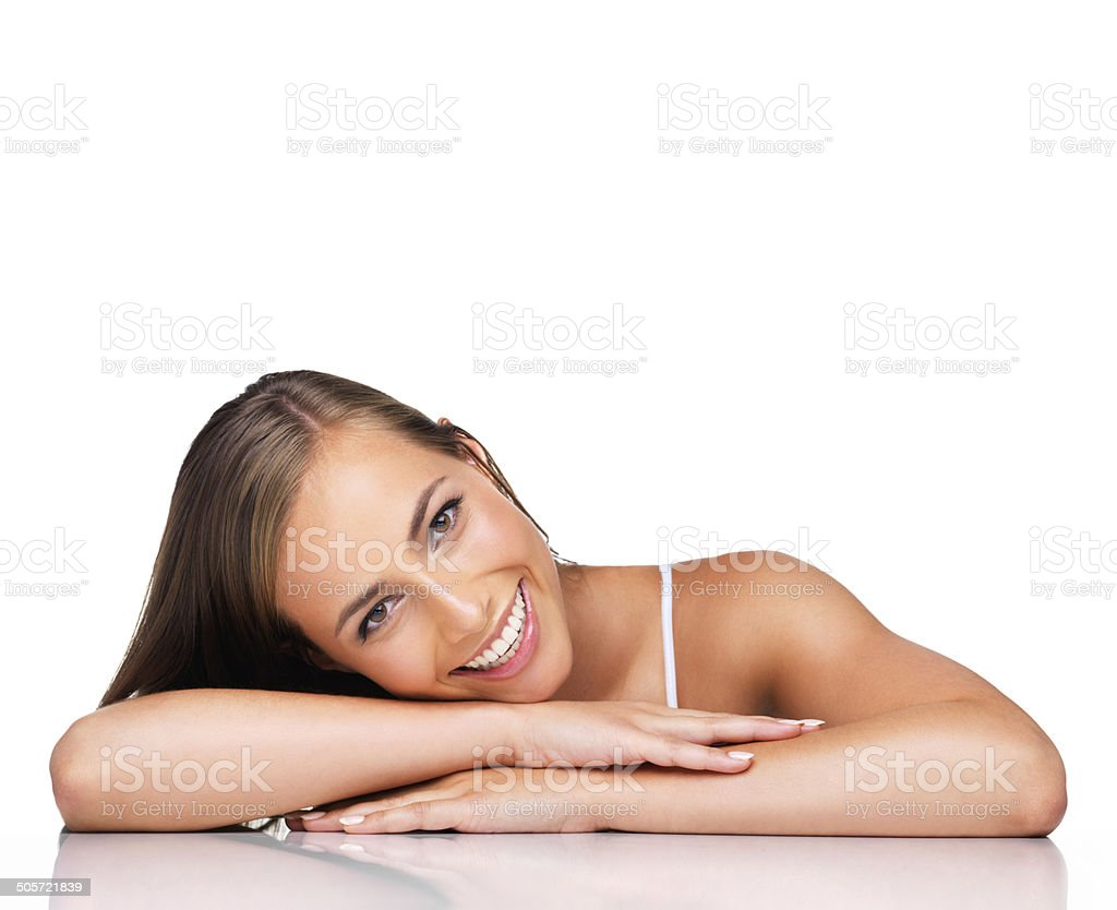 She's an all nautral beauty stock photo