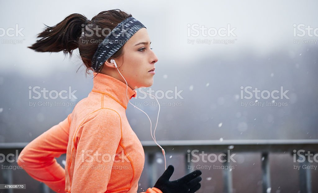 She's an all-weather athlete stock photo