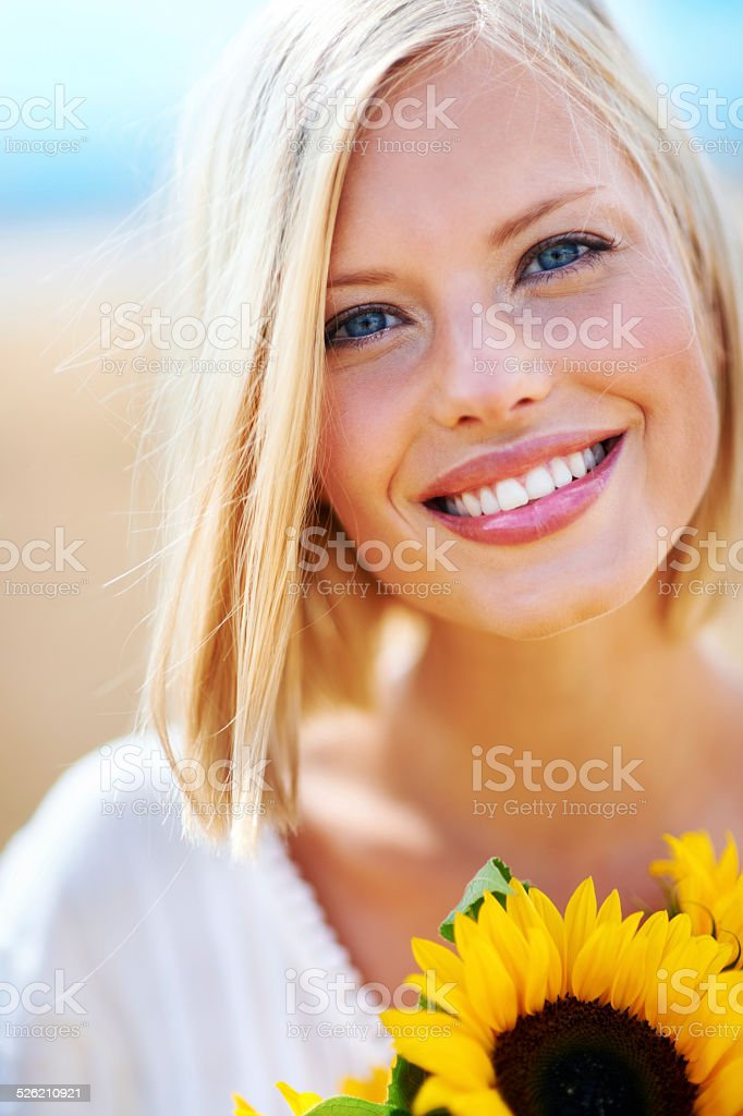 She's as beautiful as a flower stock photo