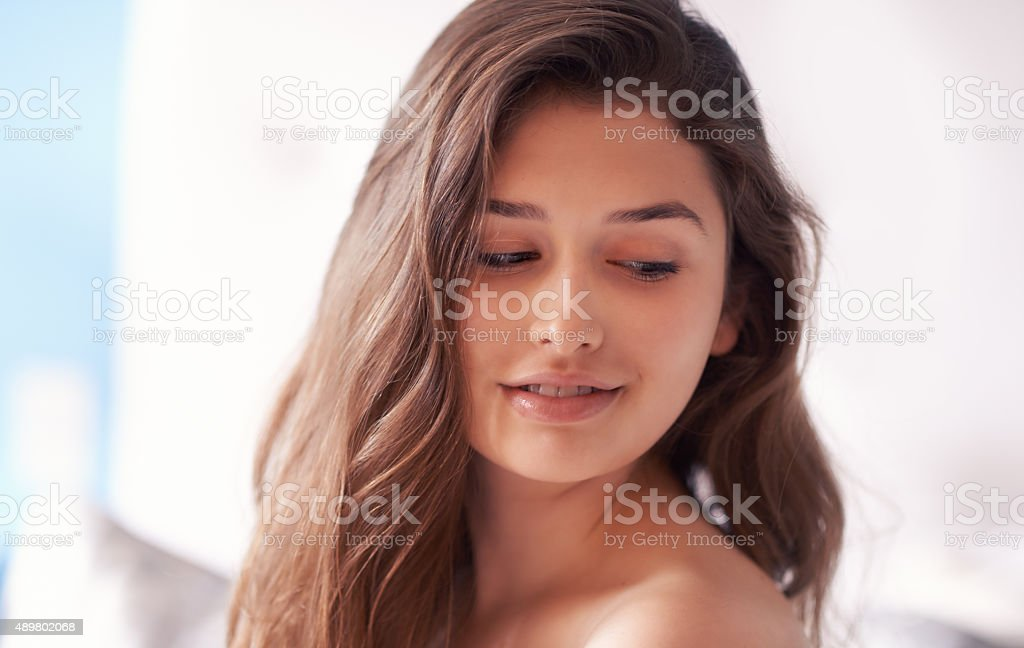 She's beautiful because she knows it stock photo