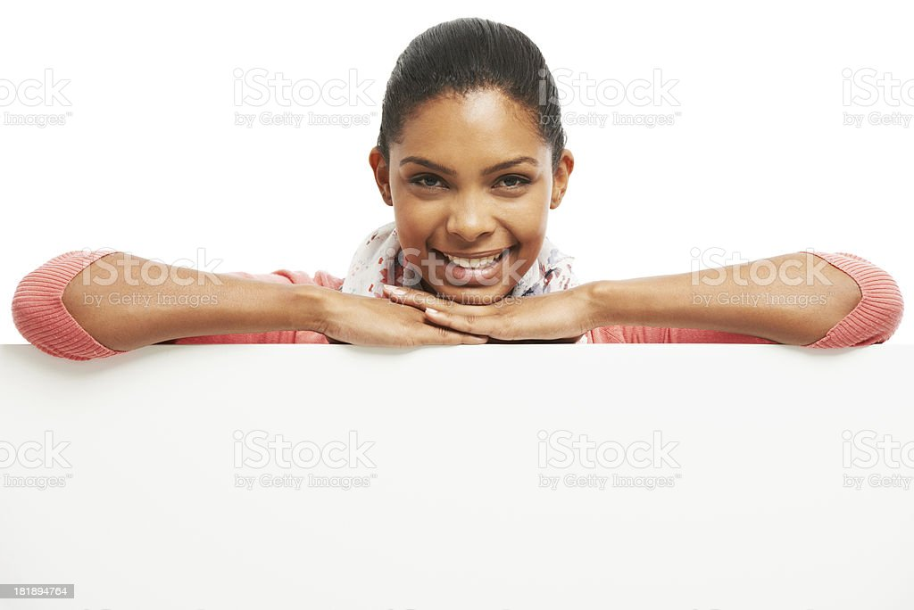 She's behind your copyspace royalty-free stock photo
