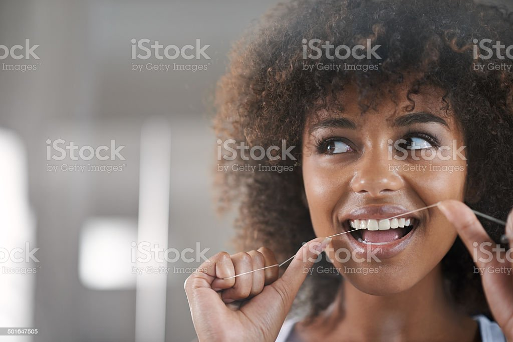 She's big on dental hygiene stock photo