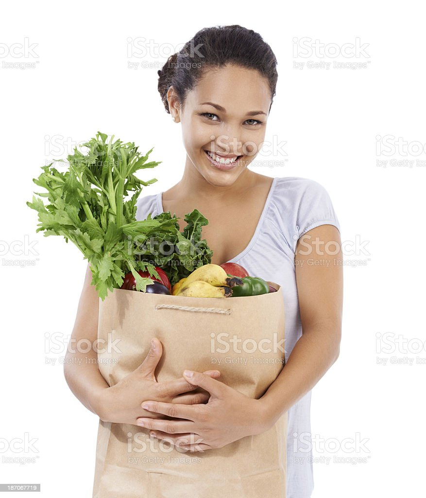 She's bought all she needs for healthy eating! royalty-free stock photo