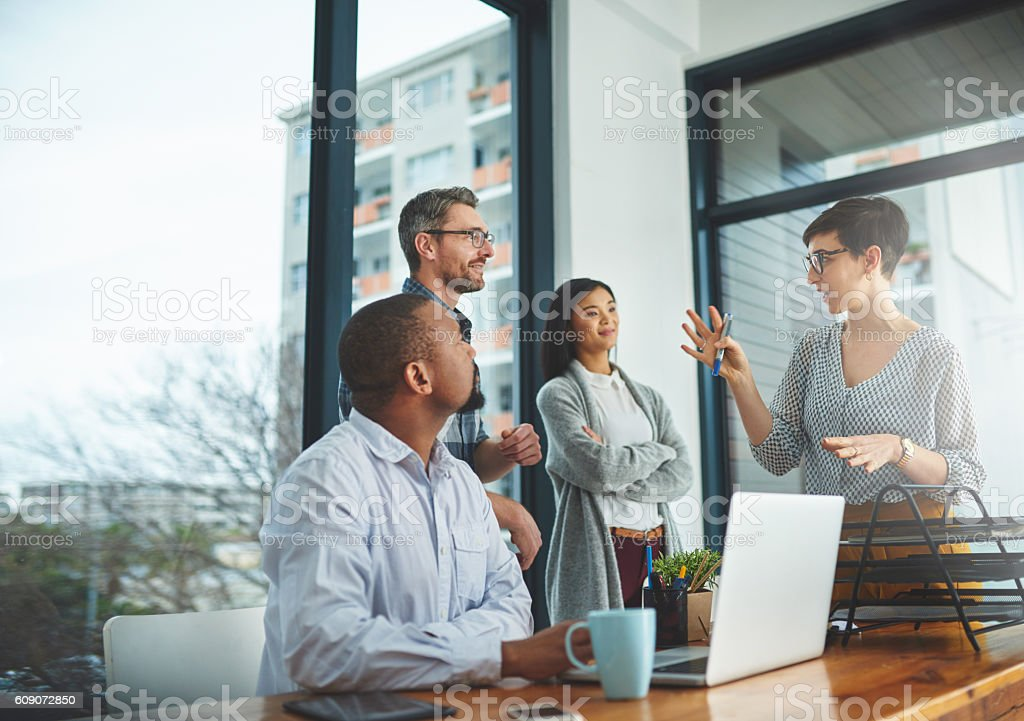 She's bringing some of her bright ideas to the front stock photo