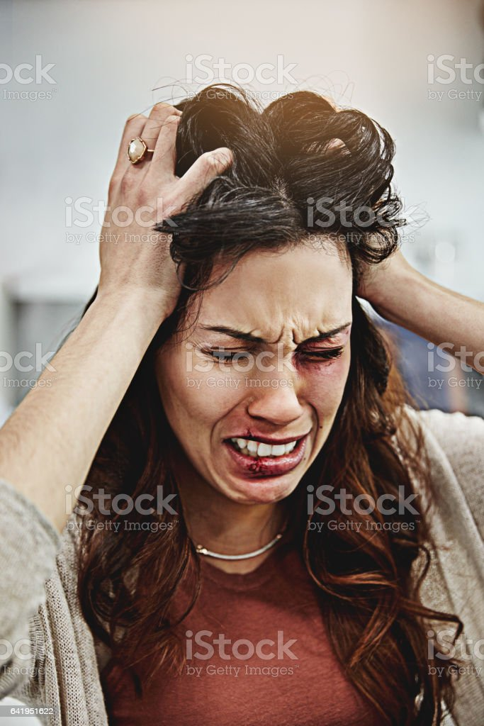 She's can't take it anymore stock photo