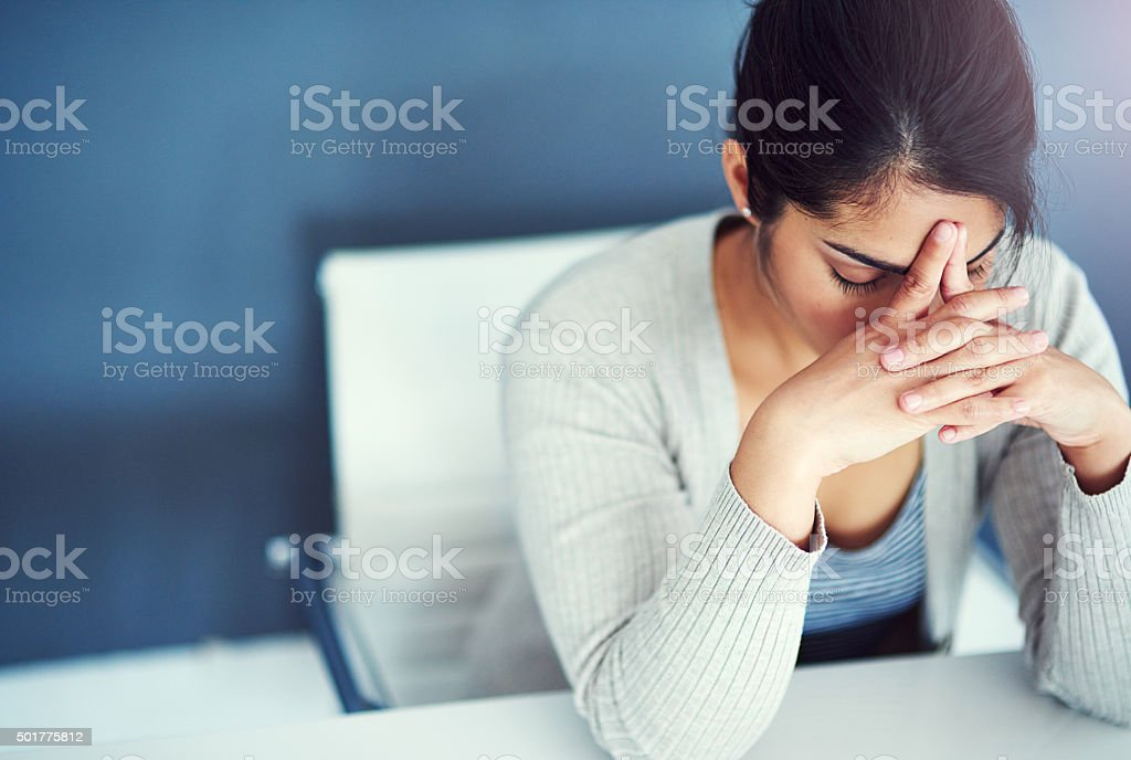She's close to her breaking point stock photo