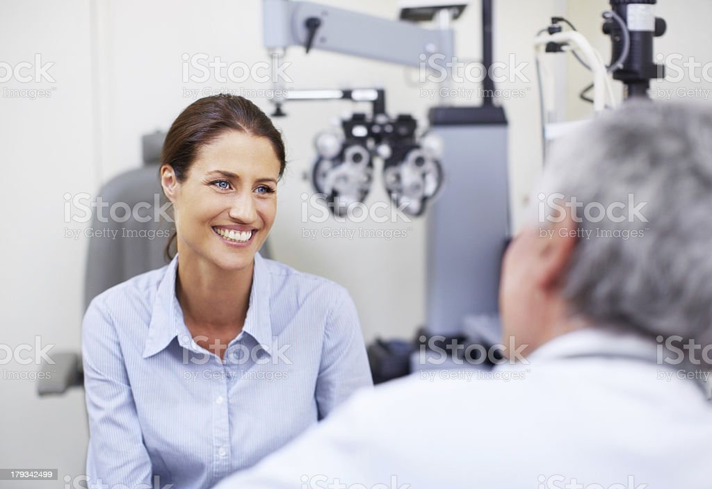 She's confident in his expertise stock photo