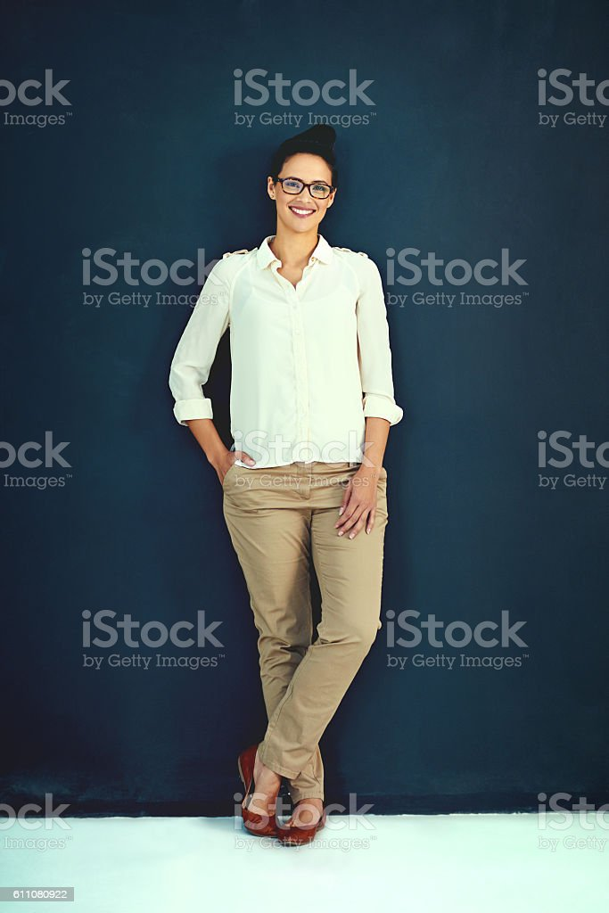 She's cool in the corporate world stock photo