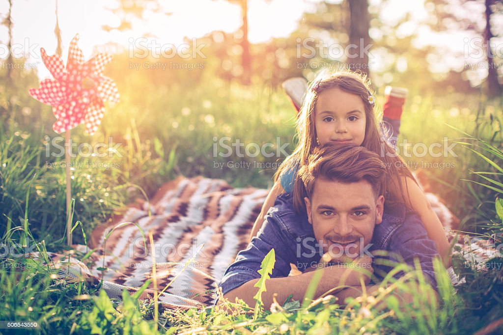 She's daddy's little girl stock photo
