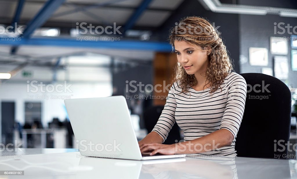 She's dedicated to her work stock photo