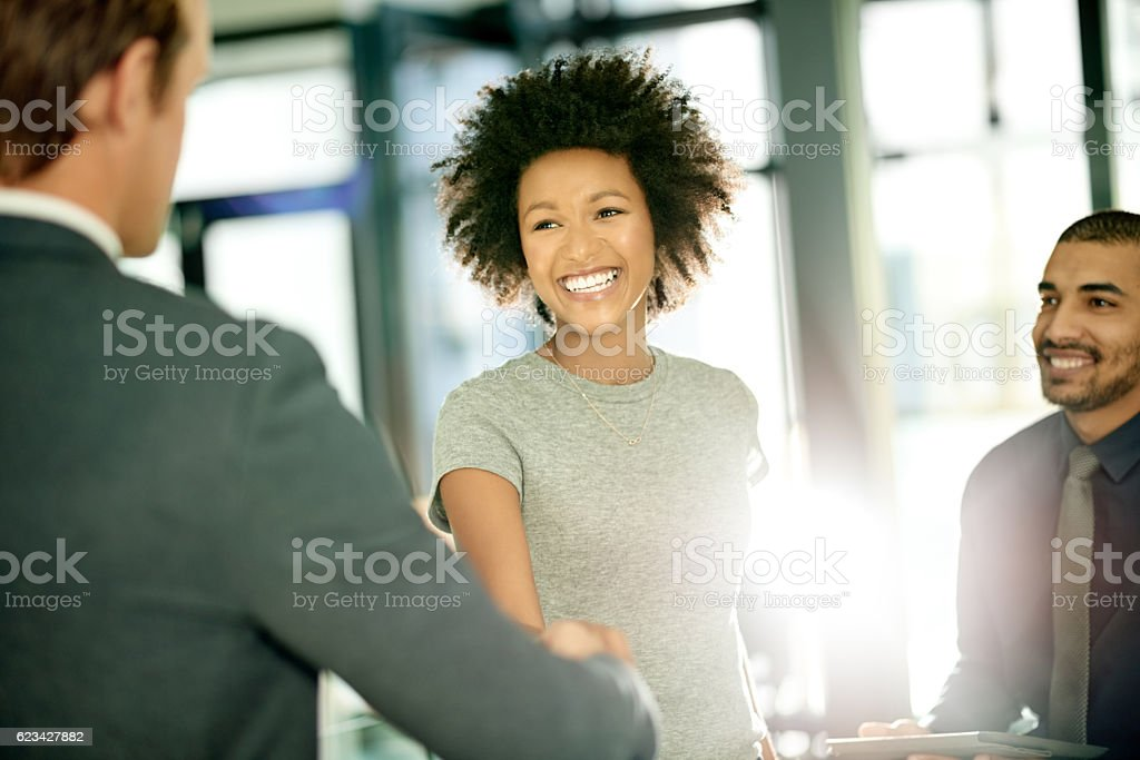She's eager and excited to be joining a new team stock photo