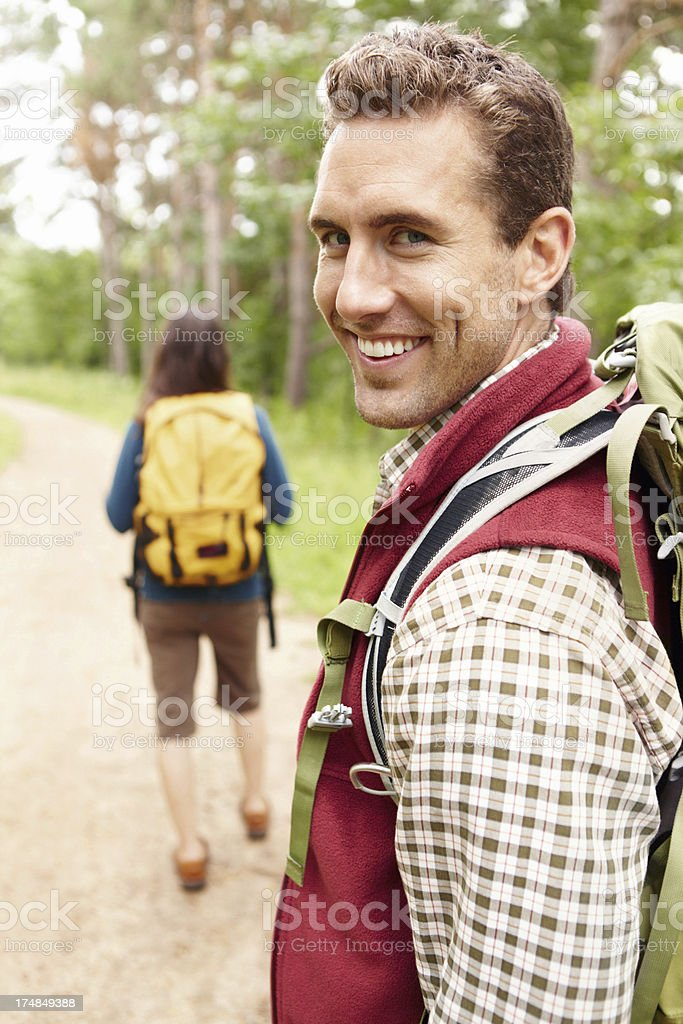She's eager to start the hike royalty-free stock photo
