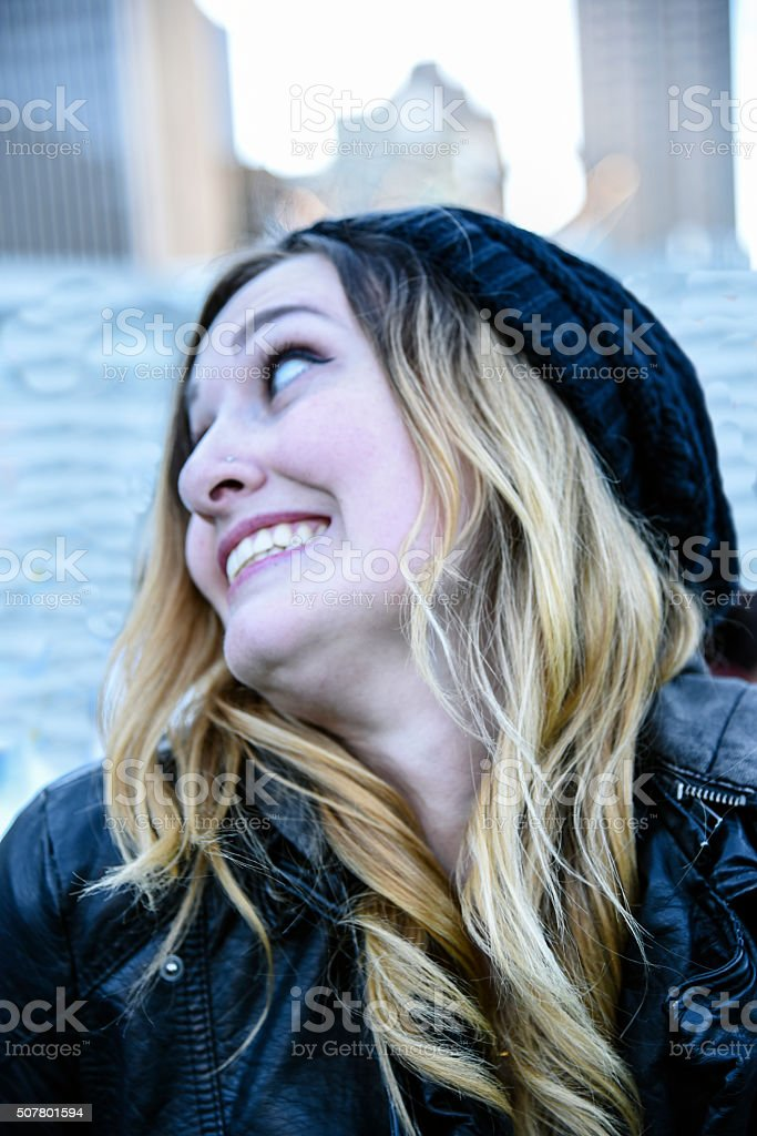 She's excited stock photo