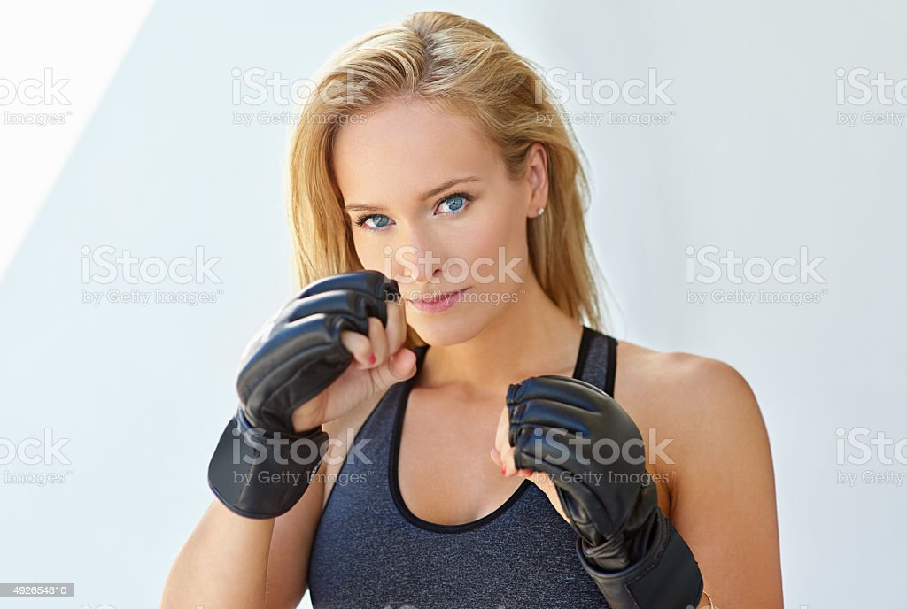 She's fighting fit stock photo