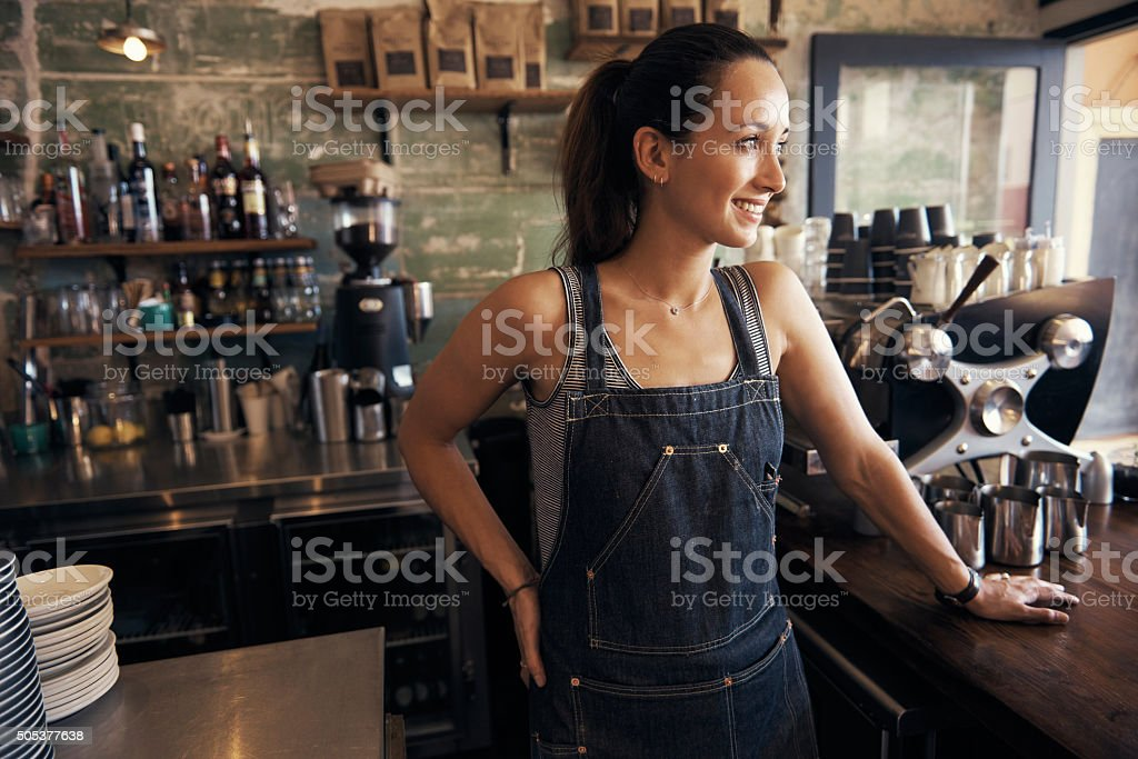 She's found the secret to coffee shop success stock photo