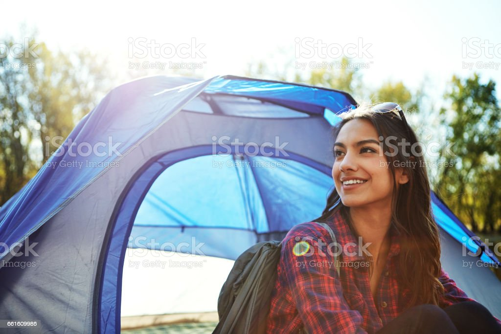 She's getting away from everything stock photo