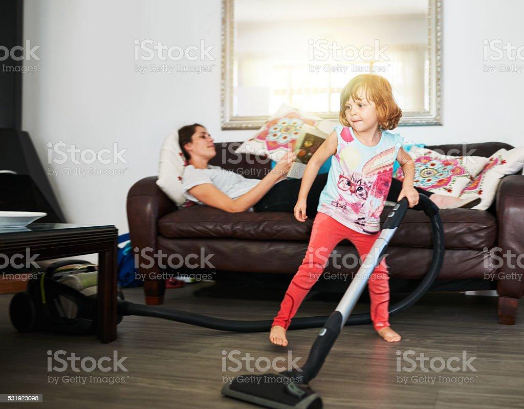She's giving mom a break stock photo