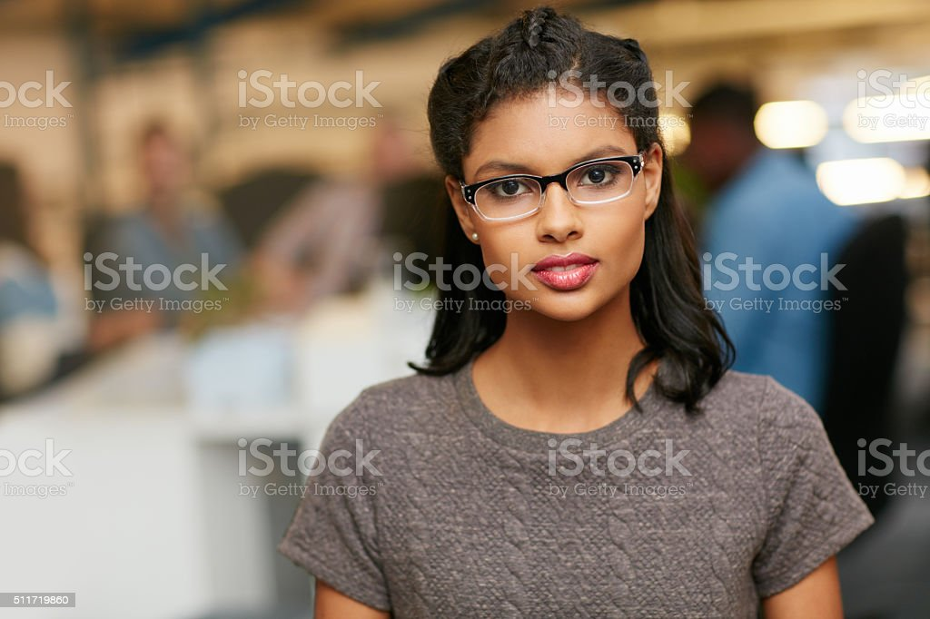 She's got a clear vision of her company's goals stock photo