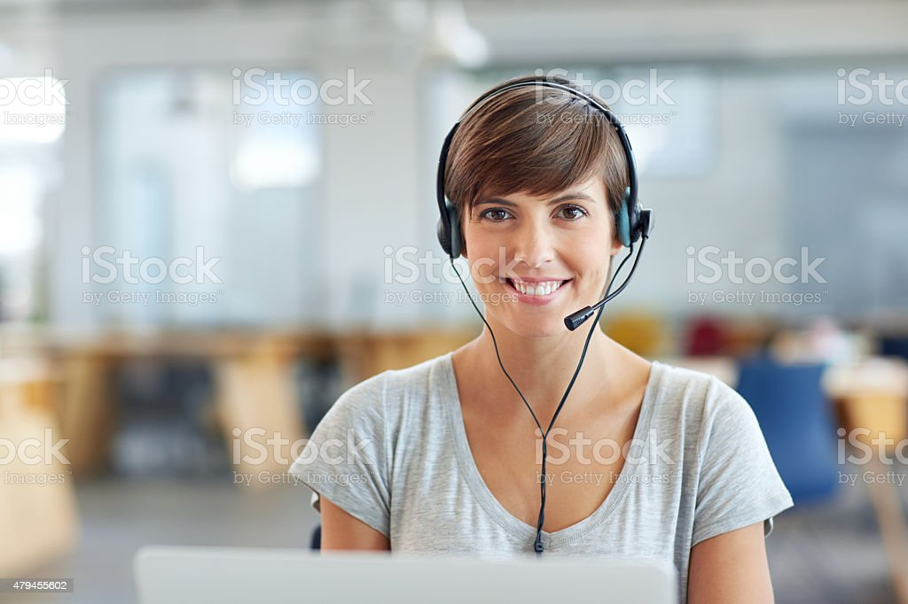 She's got a direct line to her customers stock photo