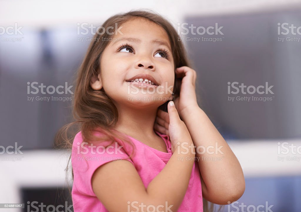 She's got a great imagination stock photo