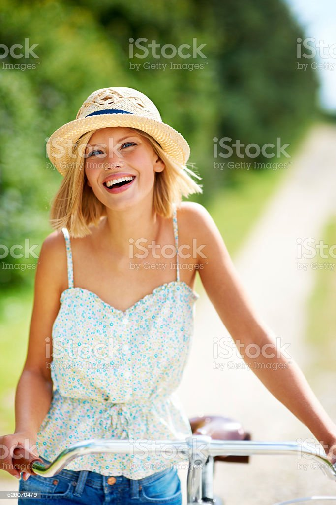 She's got a great outlook on life! stock photo